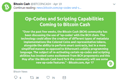 Bitcion Cash Official Tweet about Op-Codes and Scripting Capabilities