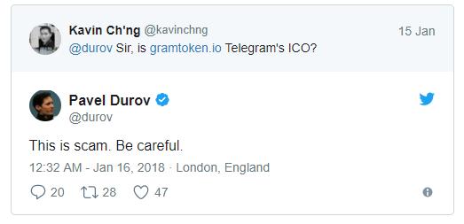 Twitter Conversation that warns people of Telegram ICO scam