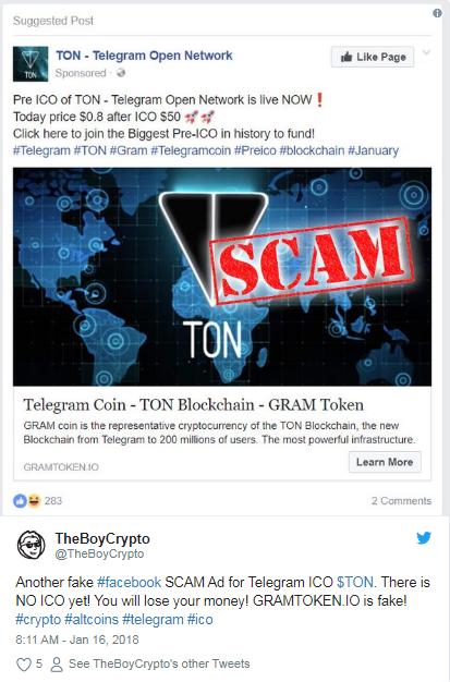 Warning of Gram Token Scam on Twitter