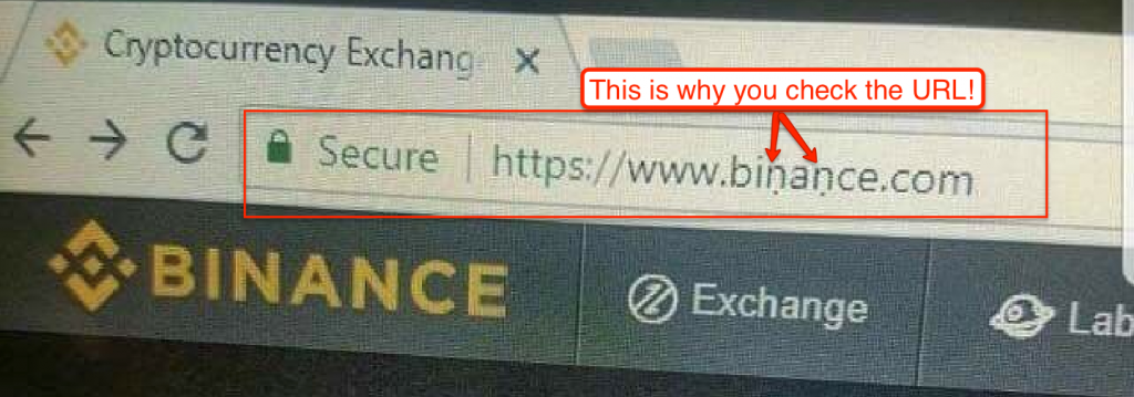 An example of a scam posing as binance.com