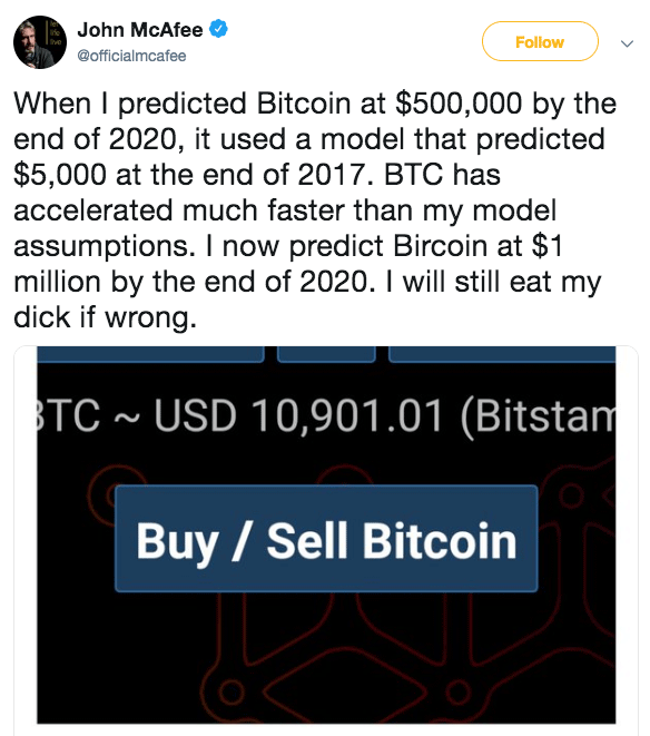 The prediction of Bitcoin price from John McAfee