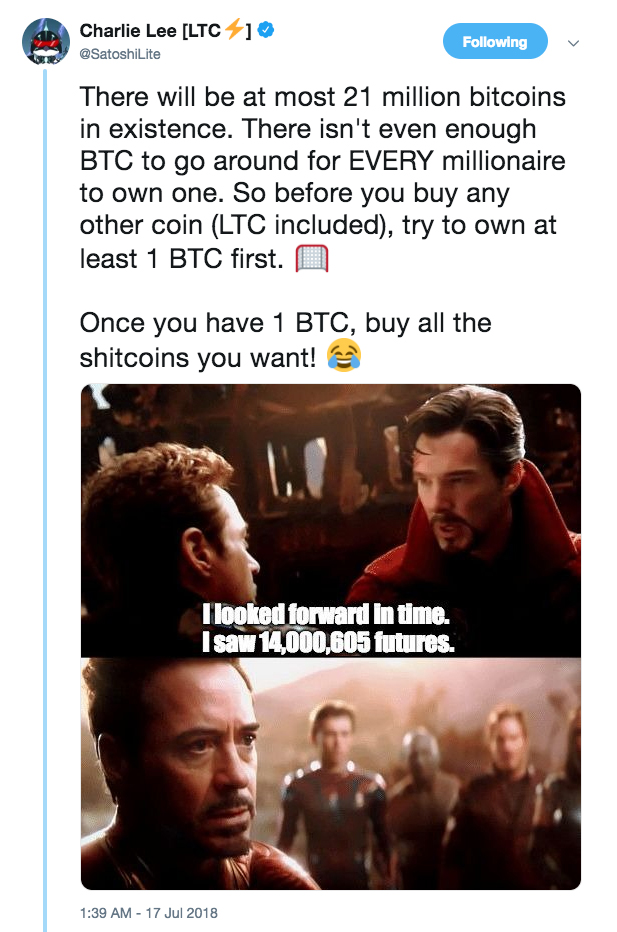 The tweet of Charlie Lee talking about purchase Bitcoin before buying all the other coins