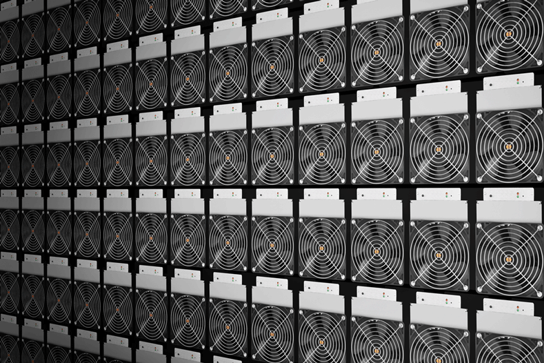 Many Ethereum mining machines stacked together