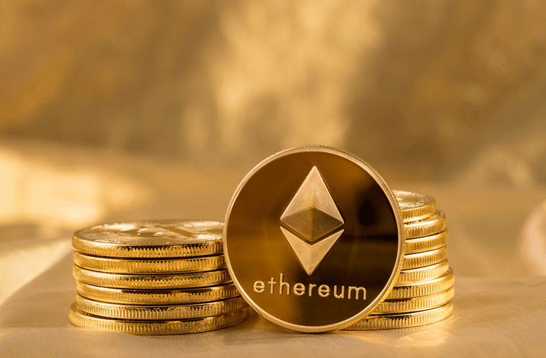 Ethereum coins stacked together