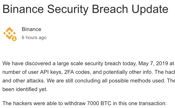 binance hack announcement